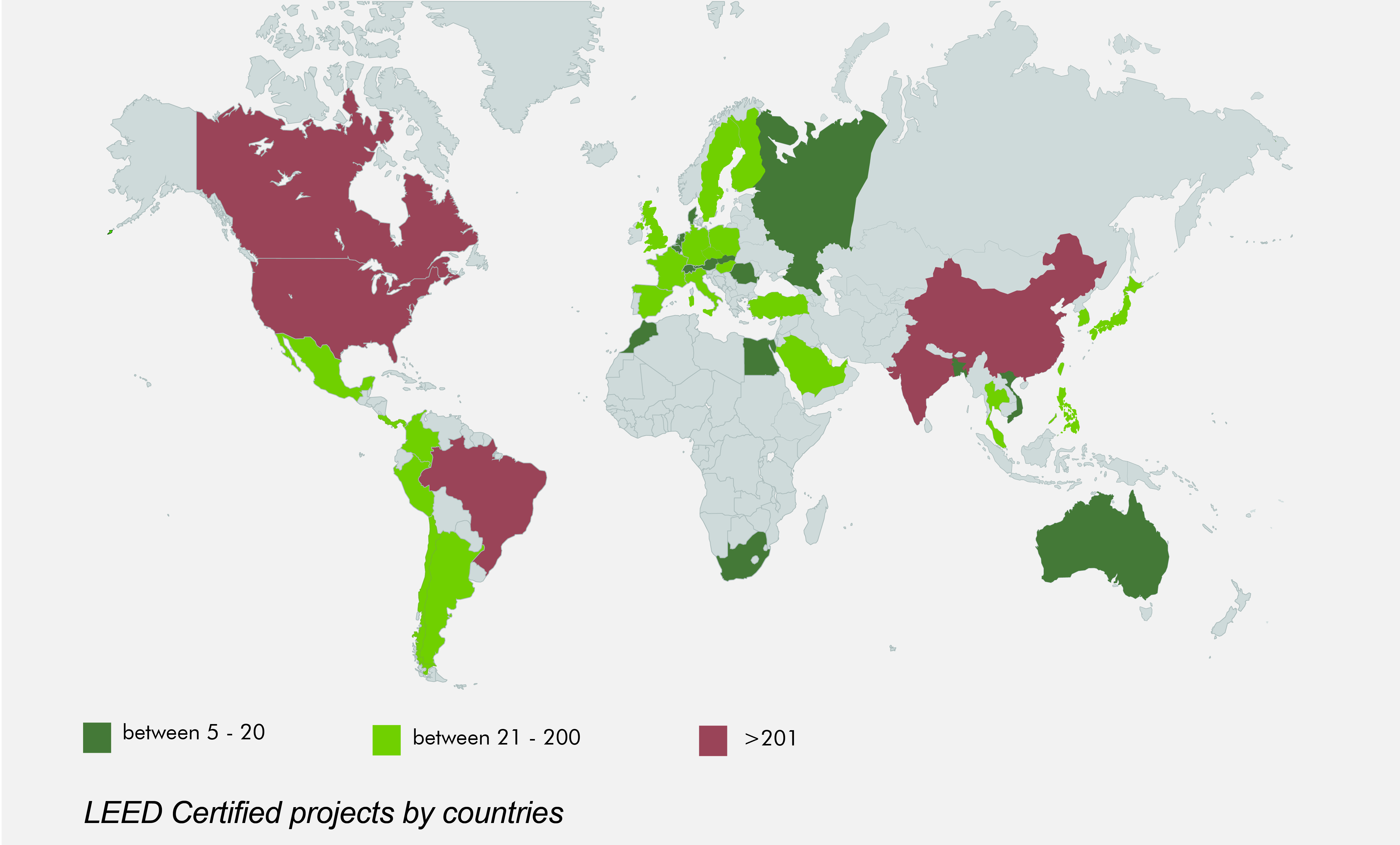 Market penetration of LEED certification systems around the world