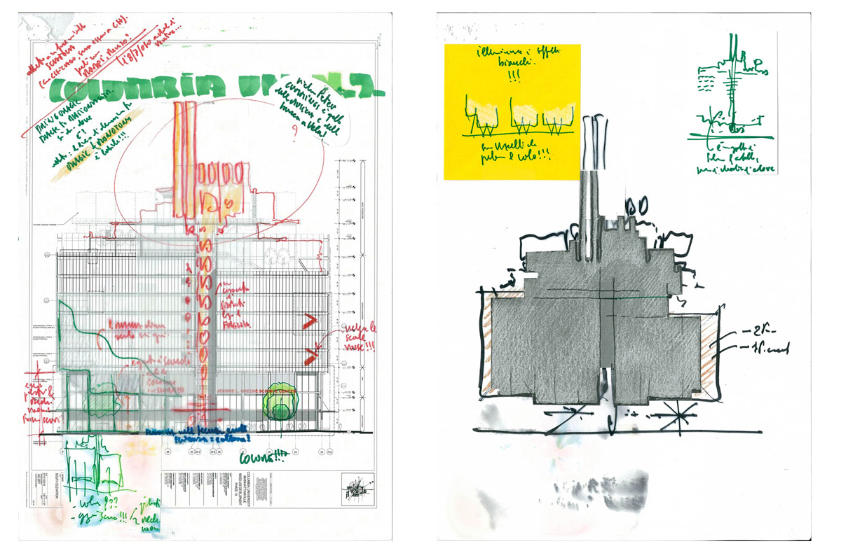 Thumbnail Renzo Piano's sketches for the LEED Gold rated Jerome L. Greene Science Center in New York